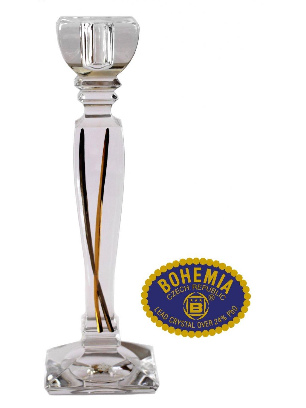 Skleněný svícen ručně zlacený 25,5cm - křišťálové sklo Bohemia Crystal
