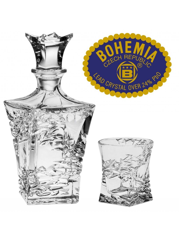 Whiskey set láhev + 6ks sklenic - křišťálové sklo Bohemia Crystal