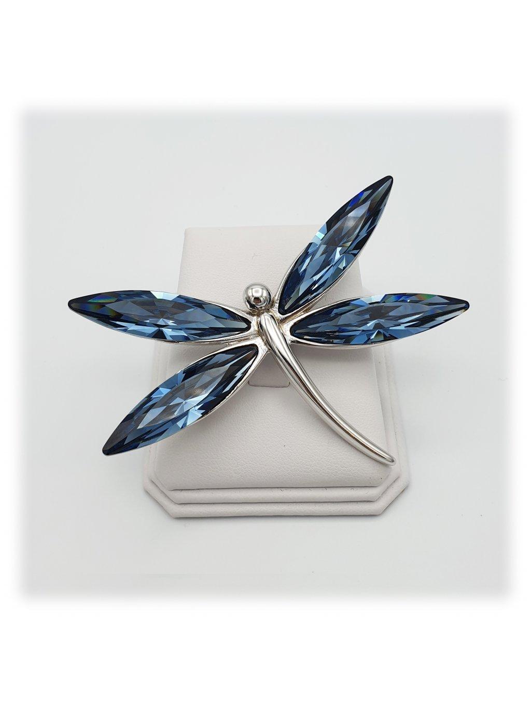 F7061-0248-03-32002 Brož Vážka s kameny swarovski® Denim Bluevážka velká Denim