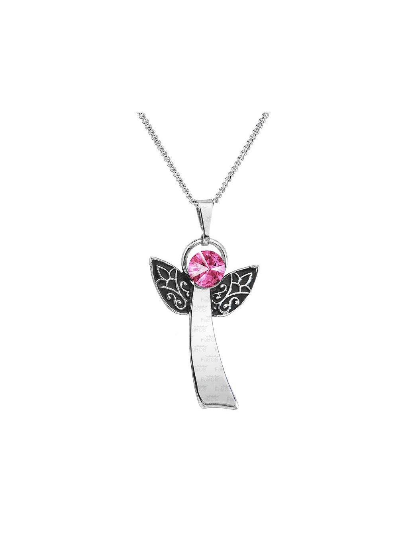 Řetízek s přívěskem Anděl Rivoli Swarovski® Rose