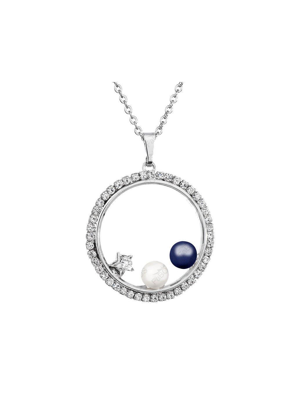 Náhrdelník Perly v kruhu s kameny Swarovski® Blue