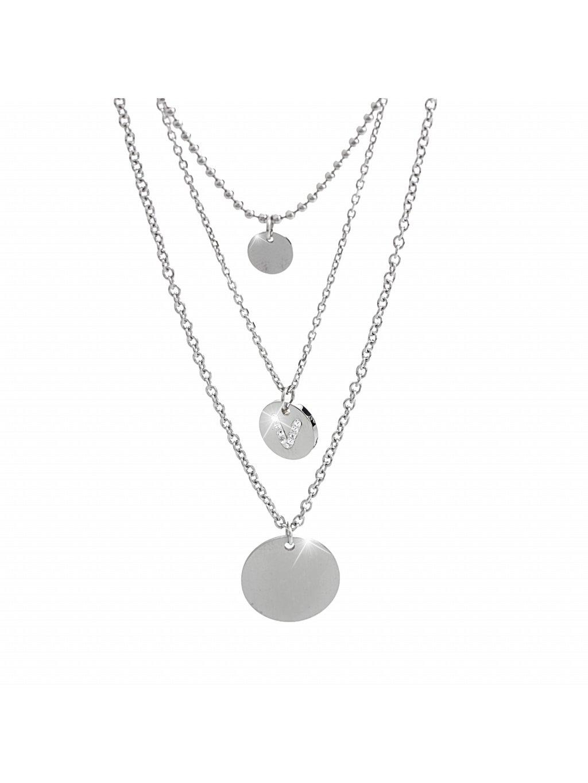 61300625cOcelový náhrdelník trojřetízkový se Swarovski kamínky