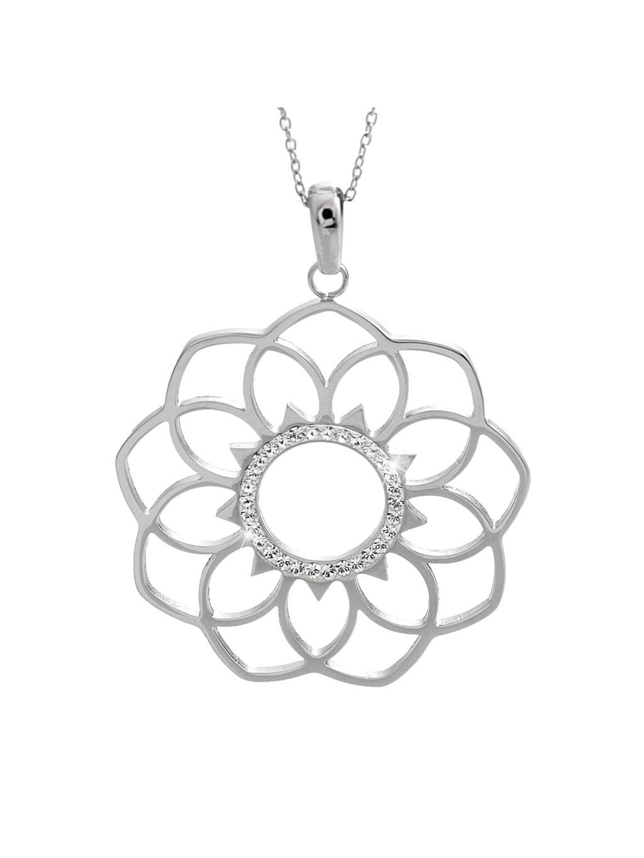 61300630cr Ocelový náhrdelník mandala osázena Swarovski kamínky