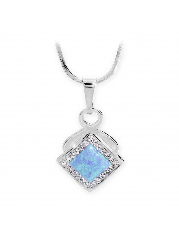 J92300313bl Stříbrný náhrdelník s Opálem a křišťálky Swarovski Modrý