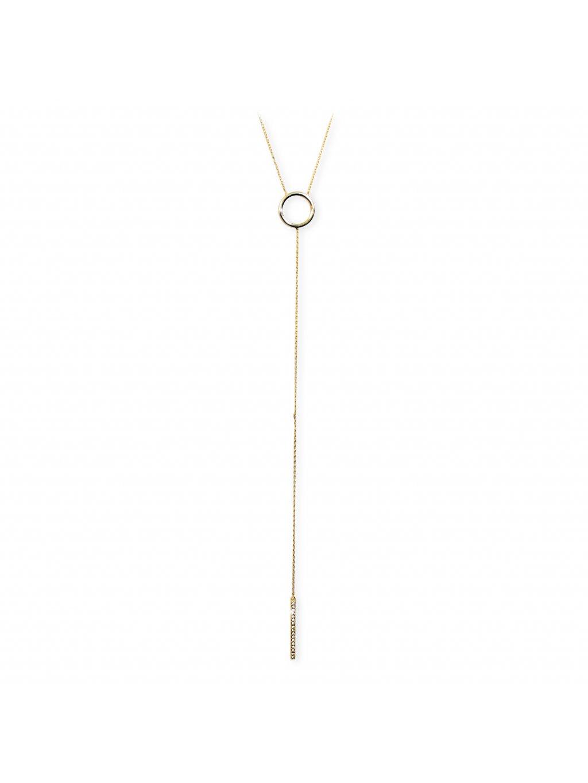 92300288gStříbrný náhrdelník prstýnek s řetízky osazený Swarovski kameny gold