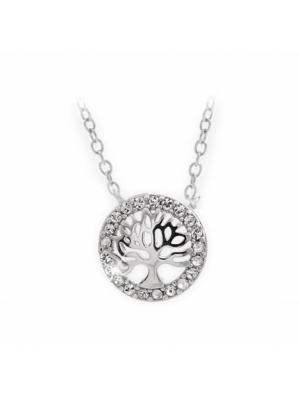 92300289crStříbrný náhrdelník strom života s křišťálky Swarovski