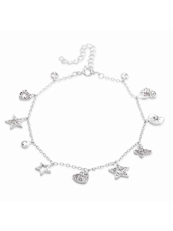 92500298cr Stříbrný náramek se symboly ze křišťálků Swarovski