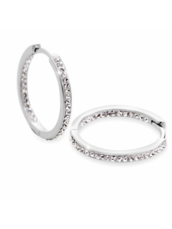 92400306crStříbrné náušnice kruhy s kamínky Swarovski