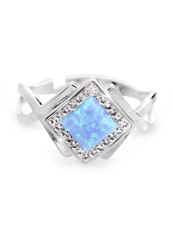 92700313bl Stříbrný prsten kostka s Opálem a kameny Swarovski Modrý