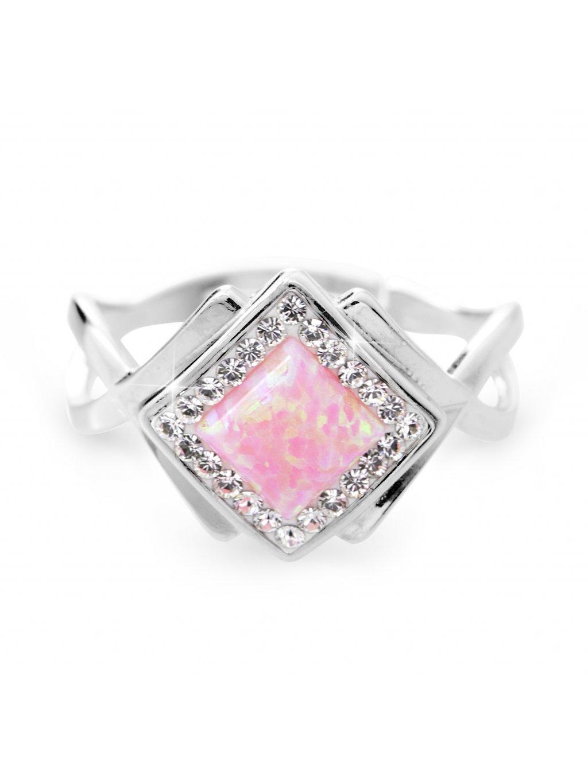 92700313roStříbrný prsten kostka s Opálem a kameny Swarovski Růžový