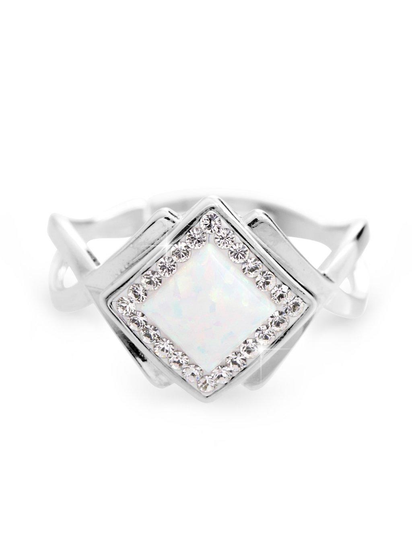92700313whStříbrný prsten kostka s Opálem a kameny Swarovski Bílý