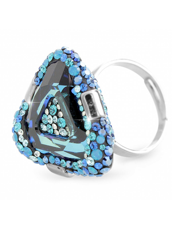 92700312bbStříbrný luxusní prsten trojúhelník s kameny Swarovski Modrý