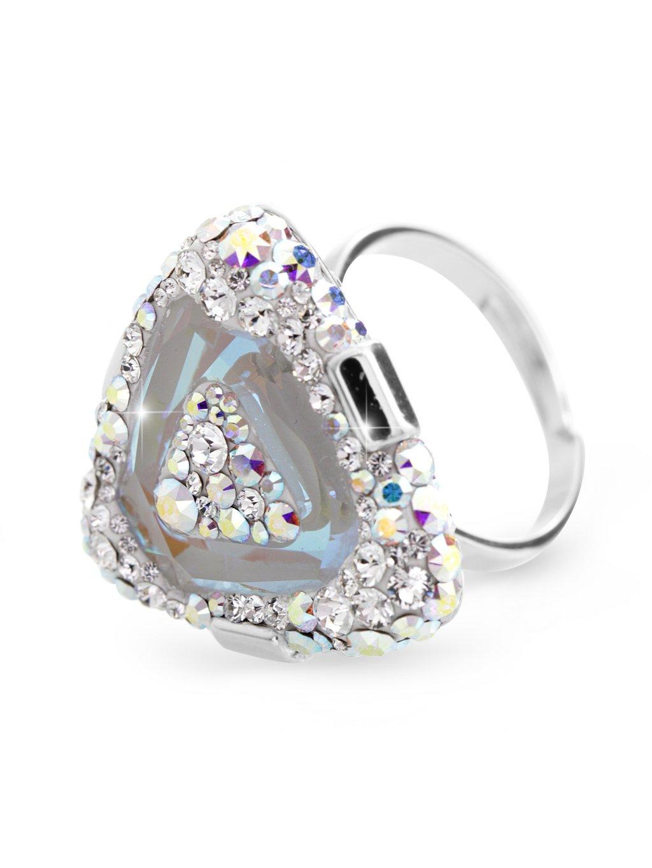 92700312abStříbrný luxusní prsten trojúhelník s kameny Swarovski Crystal Bílý