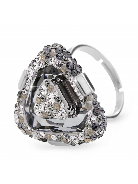 92700312bdStříbrný luxusní prsten trojúhelník s kameny Swarovski Crystal šedý