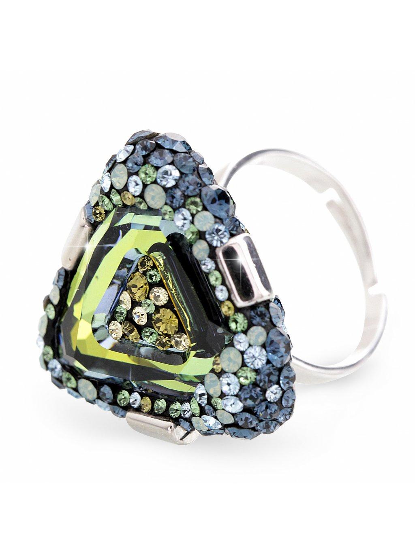 92700312sahStříbrný luxusní prsten trojúhelník s kameny Swarovski Zeleno modrý