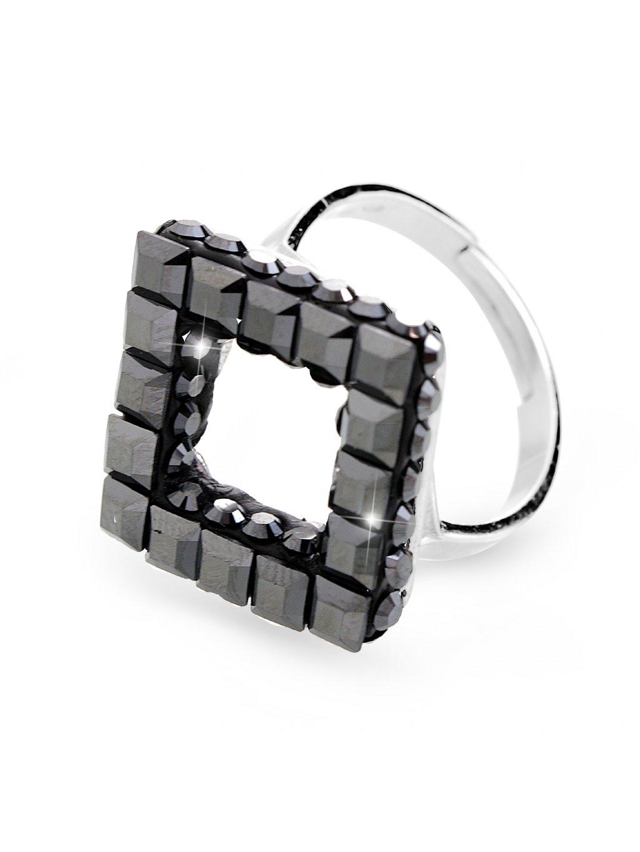 92700310hemStříbrný prsten cube s kameny Swarovski hematit