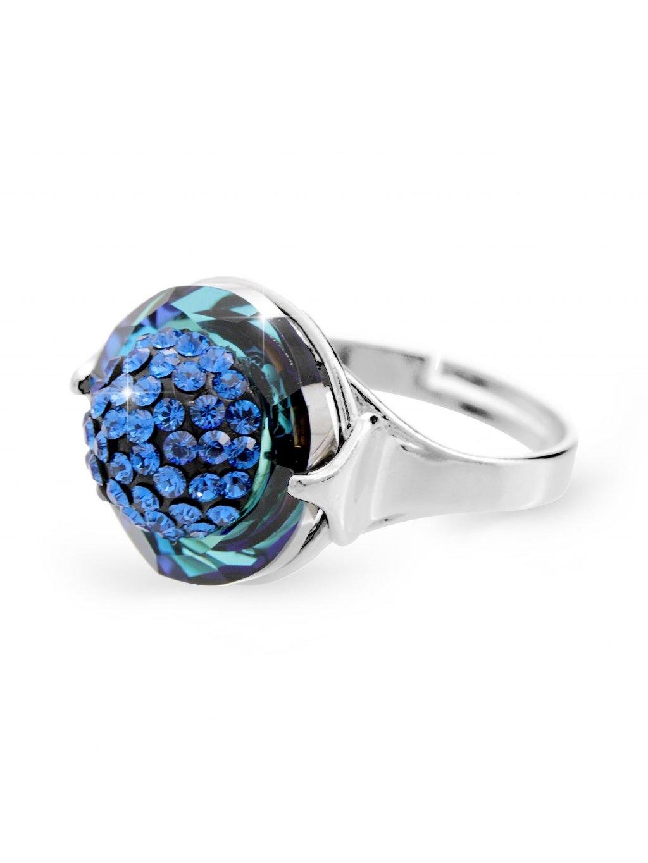 92700309bbStříbrný prsten půlkulička s kameny Swarovski bermuda blue