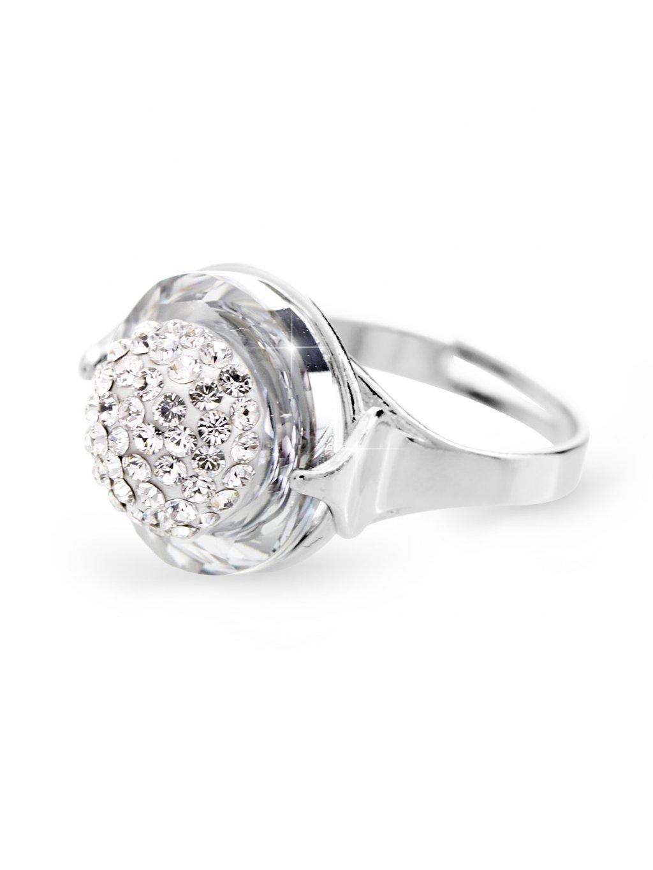 92700309crStříbrný prsten půlkulička s kameny Swarovski Crystal