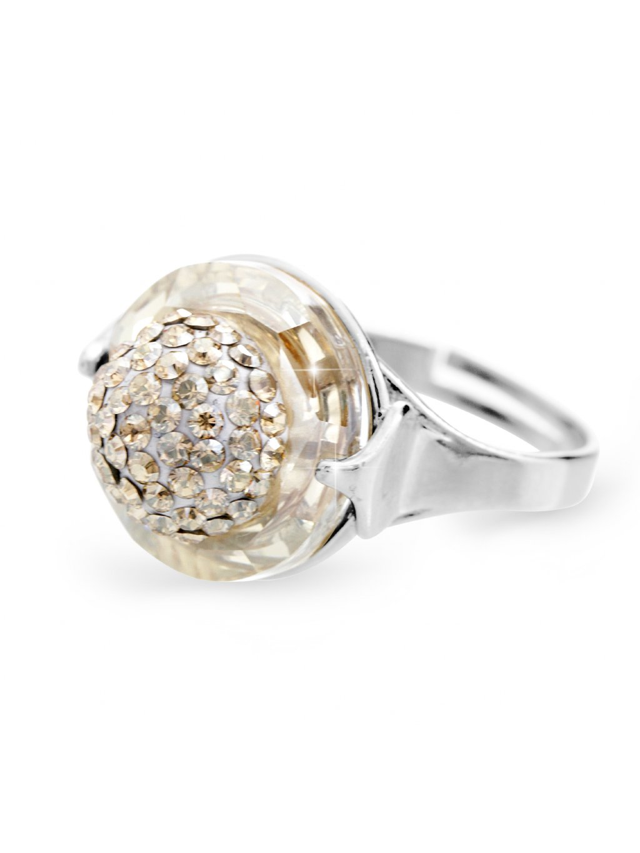 92700309gsStříbrný prsten půlkulička s kameny Swarovski gold silver