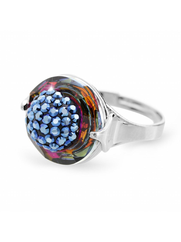 92700309voStříbrný prsten půlkulička s kameny Swarovski Modrý duhový