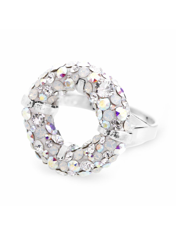 92700311abmixStříbrný prsten round s kameny Swarovski Crystal AB mix