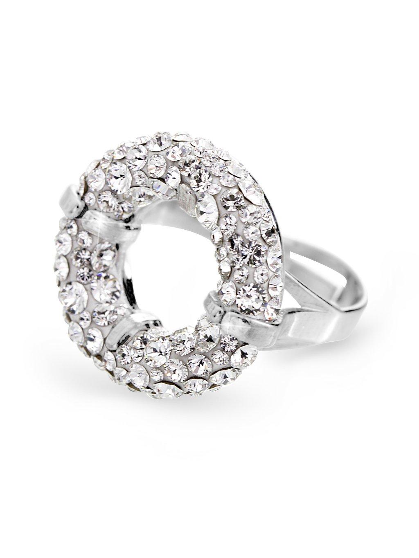 92700311crStříbrný prsten round s kameny Swarovski Crystal