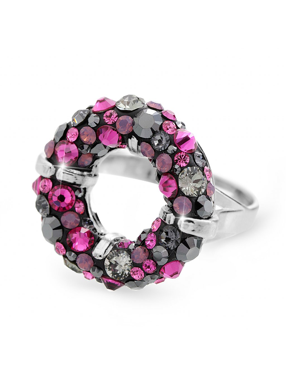92700311fuchStříbrný prsten round s kameny Swarovski