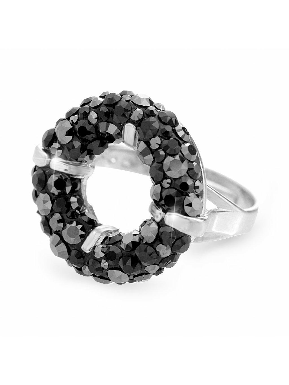 92700311jetStříbrný prsten round s kameny Swarovski jet