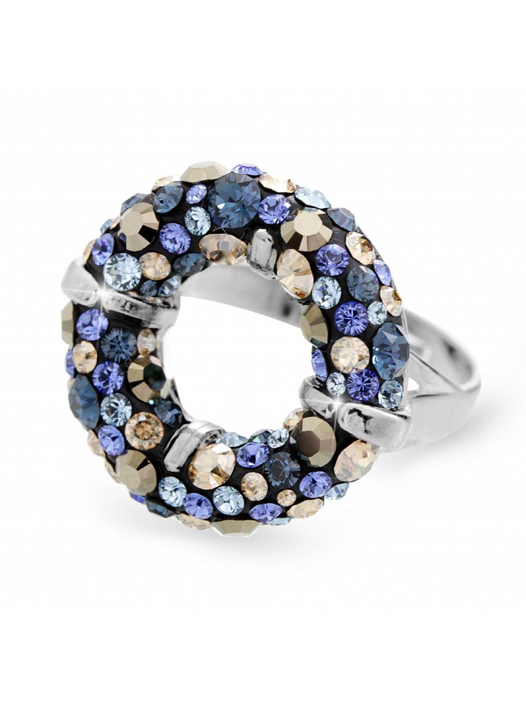92700311moStříbrný prsten round s kameny Swarovski blue