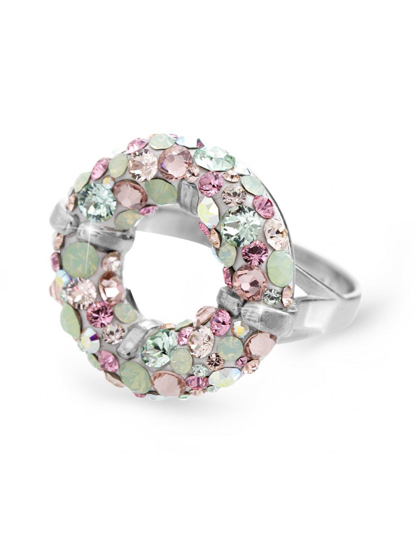 92700311multiStříbrný prsten round s kameny Swarovski multicolor