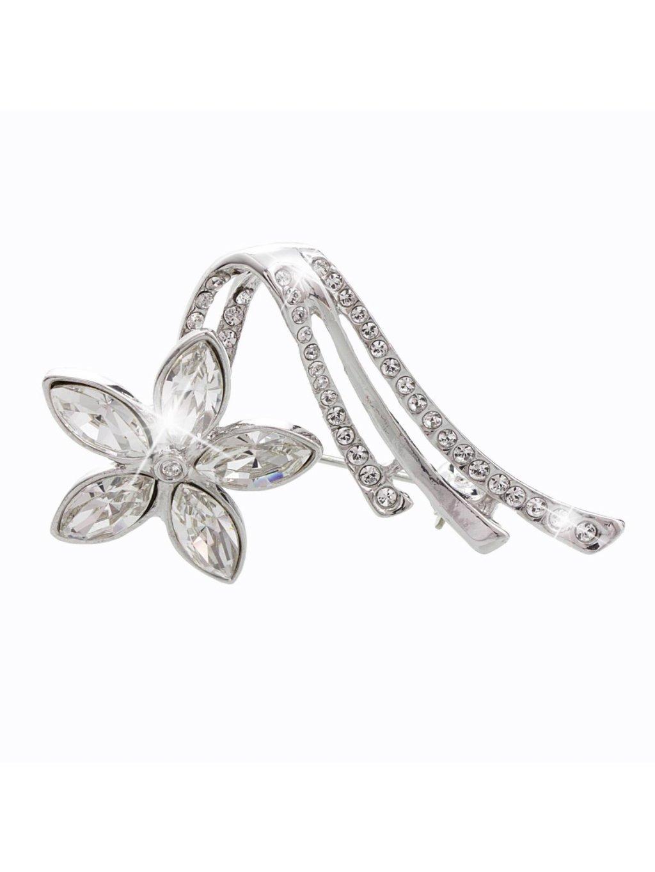 61600320crBrož Květina velká s kameny Swarovski® Crystal