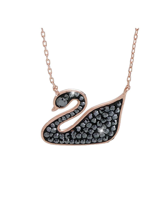 J92300278hemStříbrný náhrdelník černá labuť s kameny Swarovski