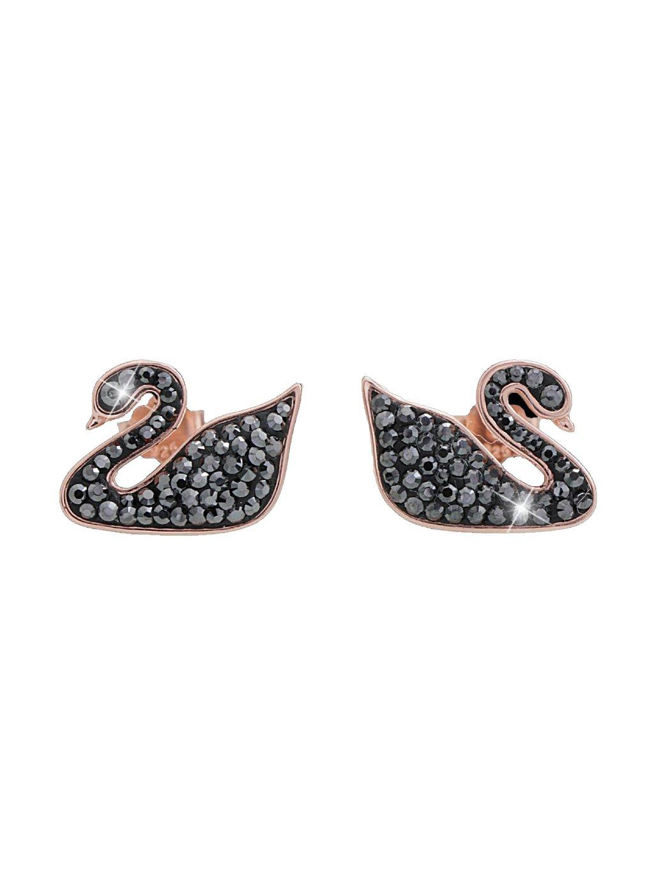 92400278hem Stříbrné náušnice černá labuť