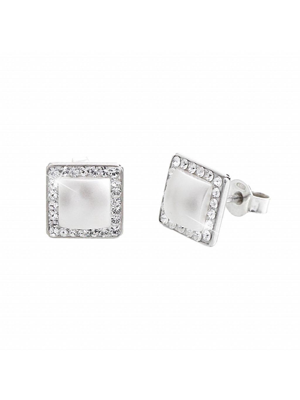 J92400292wh Stříbrné náušnice kostička s perlou