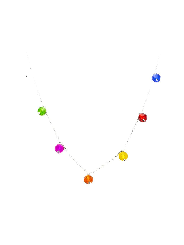 BF43 Stříbrný náhrdelník s barevnými kuličkami