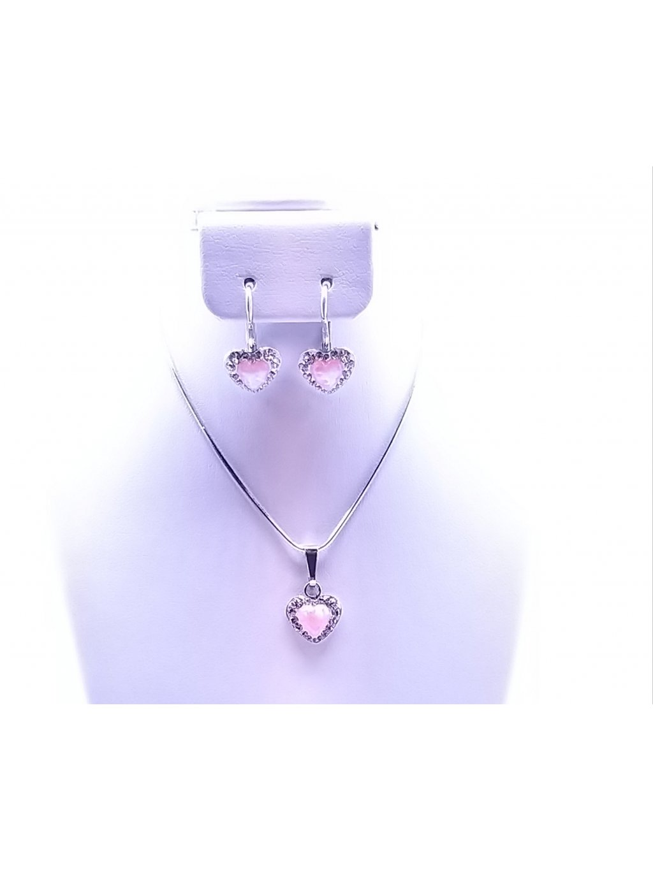 J92000356ROSA Stříbrná sada opálkové srdíčko růžové osázené Swarovski kamínky