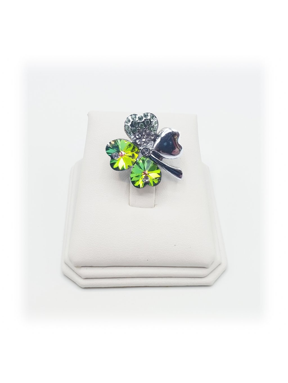 Brož čtyřlístek zelený Swarovski® Peridot