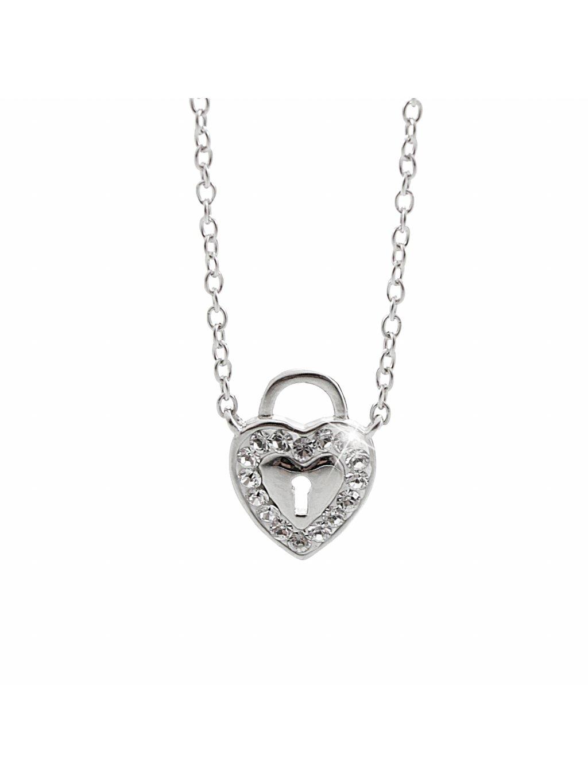 92300246crStříbrný náhrdelník srdce na zámek Swarovski