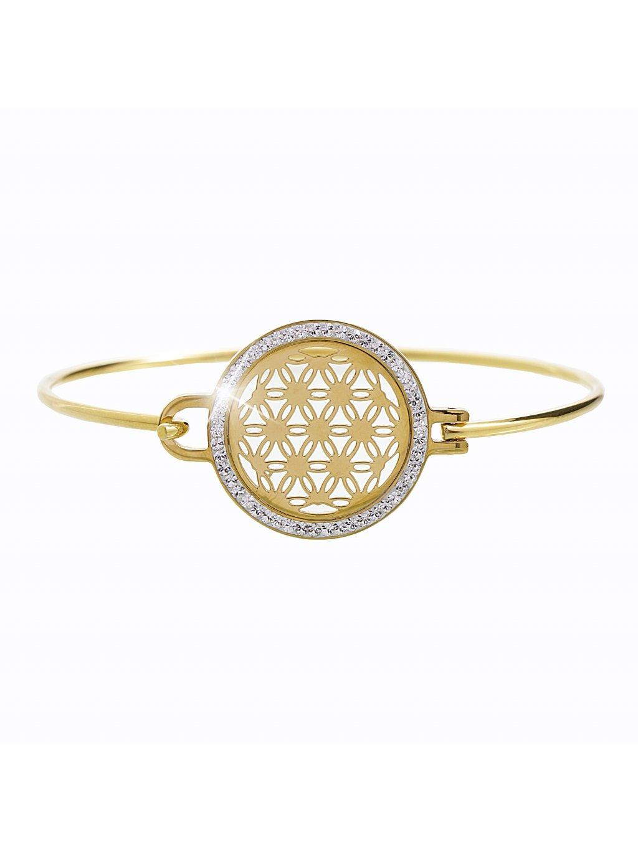61500561gOcelový náramek květ života Swarovski gold