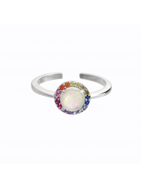 92700345multiStříbrný prsten s opálem color Swarovski