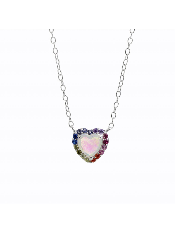 92300346multiStříbrný náhrdelník opálové srdce color Swarovski