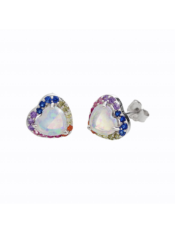 92400346multi (2)Stříbrné náušnice opálové srdce color Swarovski
