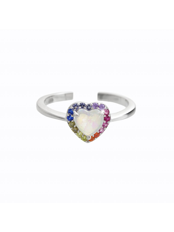 92700346multi Stříbrný prsten opálové srdce multicolor Swarovski