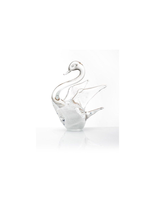 Skleněná labuť velká - bílá s bublinkami