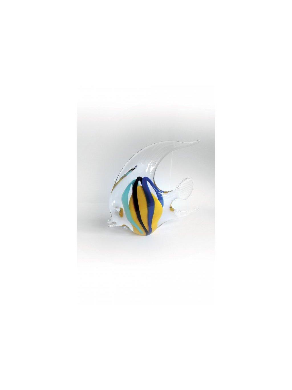 Skleněná ryba - skalára velká - žlutomodrá