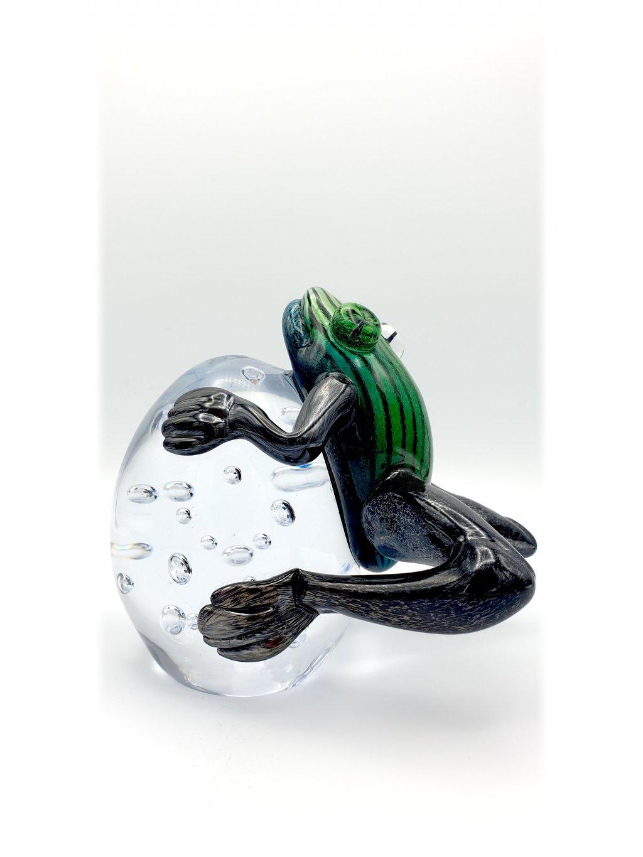 Skleněná žába - zeleno-černá