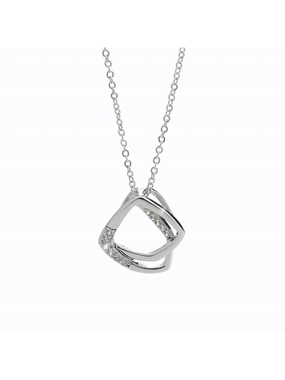 92300330crStříbrný náhrdelník Dva Čtverce Swarovsi crystal