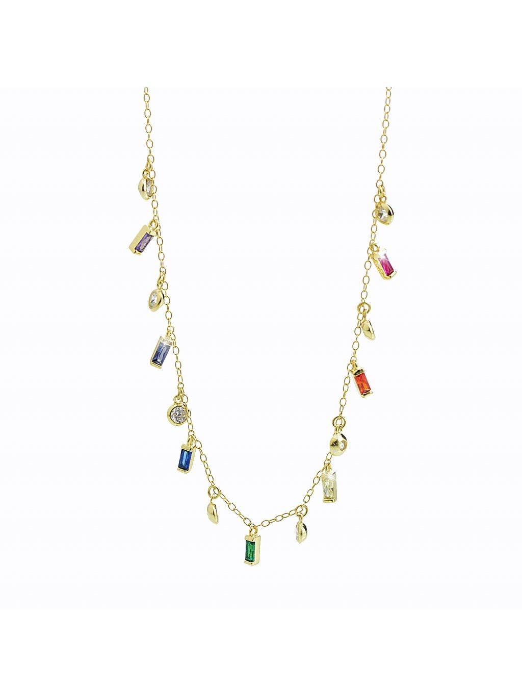 92300363g multi Stříbrný náhrdelník přívěskový se zirkony gold