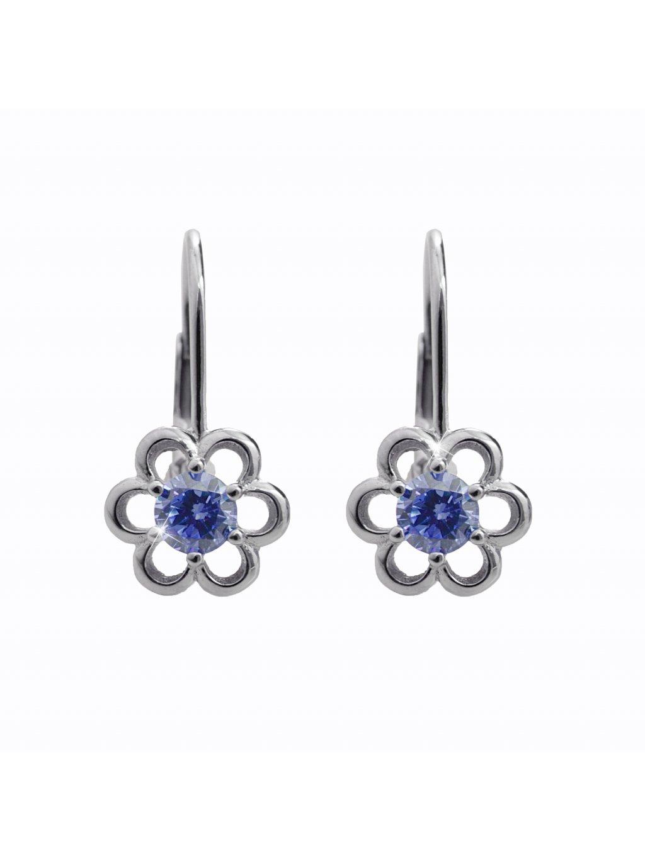 92400338saphDětské stříbrné náušnice Kytička blue