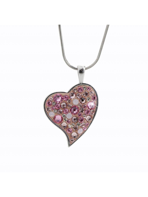92300320roStříbrný náhrdelník Srdce růžové Swarovski crystal